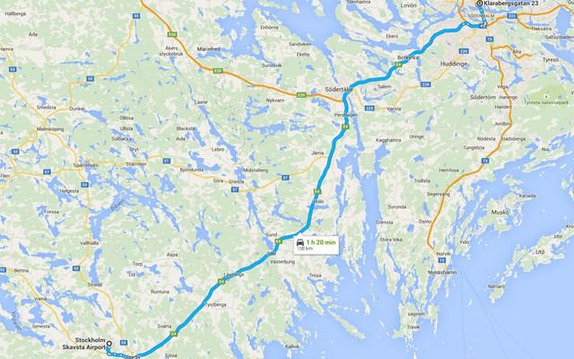 Đường ô tô từ sân bay vào trung tâm thành phố theo Bản đồ Google. Ảnh: Ảnh: AP/FOTOLIA