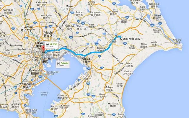 Đường oto từ sân bay vào trung tâm thành phố theo Bản đồ Google. Ảnh: Ben Thomas
