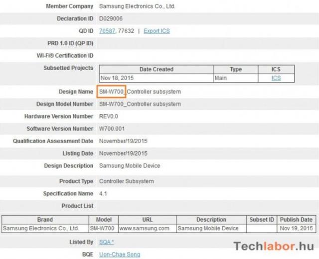 Thông tin về chiếc máy tính bảng mang mã SM-W700 của Samsung được xác nhận trên Bluetooth SIG