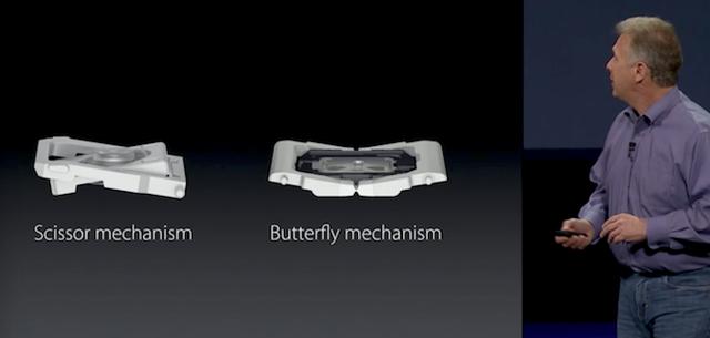Cơ chế cắt kéo đã được thay thế bằng cơ chế cánh bướm