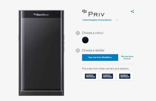 Người dùng có thể đặt mua BlackBerry Priv trực tiếp từ trang chủ của BlackBerry