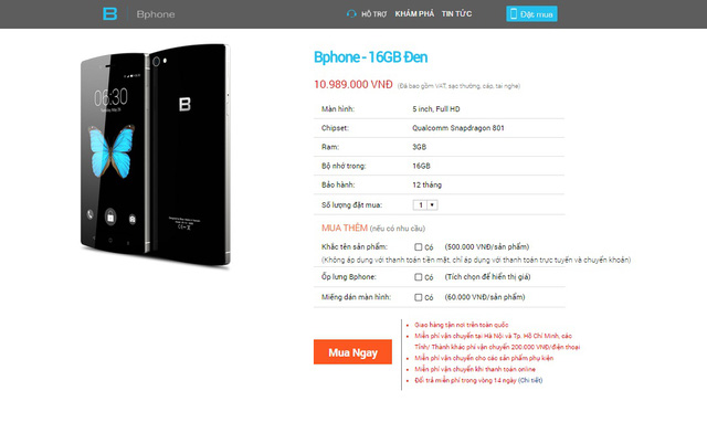 Thông tin về đợt mở bán BPhone lần hai được lặng lẽ đăng tải trên trang chủ của Bkav