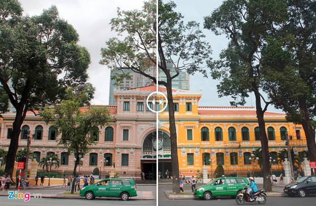 Bưu điện TP.HCM trước và sau khi cải tạo (Ảnh: Zing.vn)