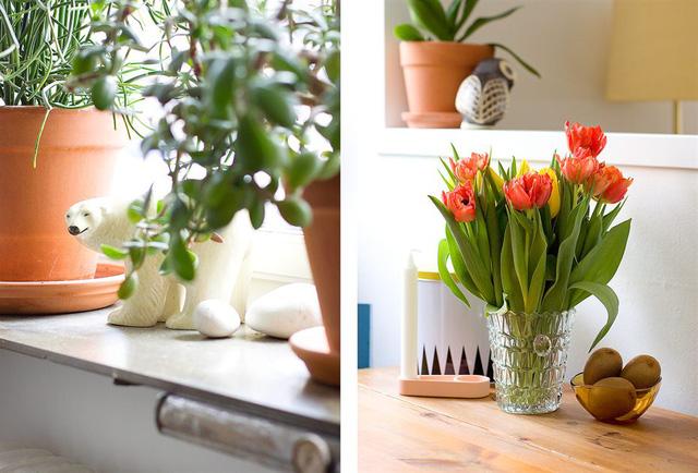 Chủ nhân lựa chọn những đồ vật và bày những cây xanh, lọ hoa để làm đẹp cho căn hộ.