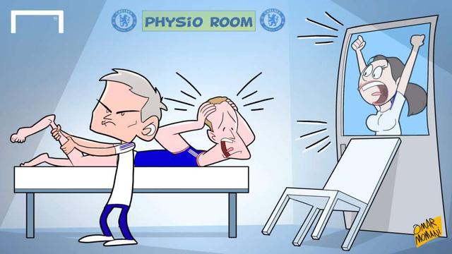 Do đã ban hành lệnh cấm vào sân đối với bác sĩ xinh đẹp Eva Carneiro nên HLV Mourinho là người toàn quyền quyết định việc điều trị chấn thương cho các cầu thủ Chelsea