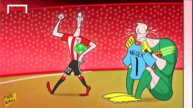 Học đòi chơi bóng ngoài vòng cấm như người đàn anh Neuer, ter Stegen đã phải trả giá vói bàn thua đầu tiên trong trận thảm 0-4 của Barcelona trên sân của Bilbao