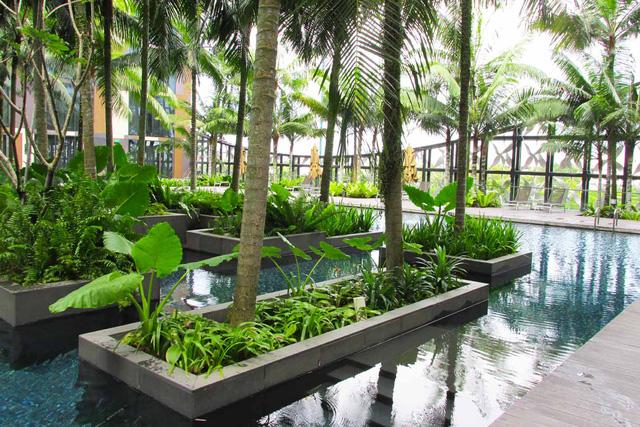 Dù rất gần với sân bay nhưng khách sạn Crowne Plaza Changi cho cảm giác thanh bình, yên tĩnh, gần gũi với thiên nhiên.