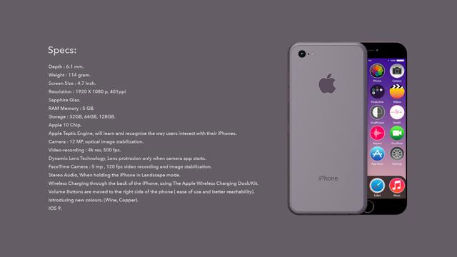 Thông số chi tiết của mẫu thiết kế iPhone 7