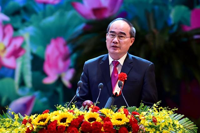 Chủ tịch Ủy ban Trung ương MTTQ Việt Nam Nguyễn Thiện Nhân phát biểu tại Đại hội - Ảnh: VGP/Nhật Bắc