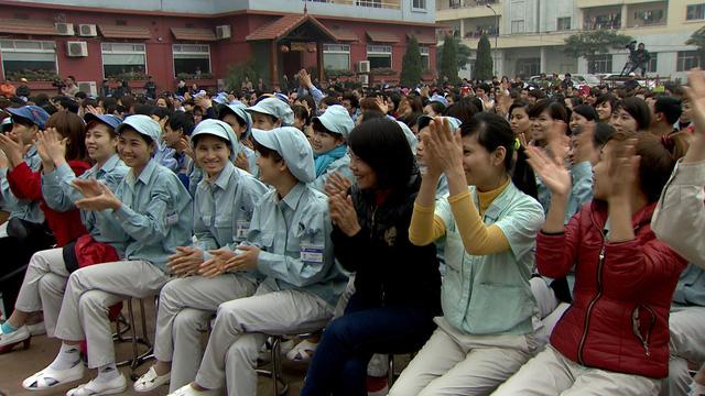 Các công nhân trên địa bàn Hà Nội có mặt tại chương trình