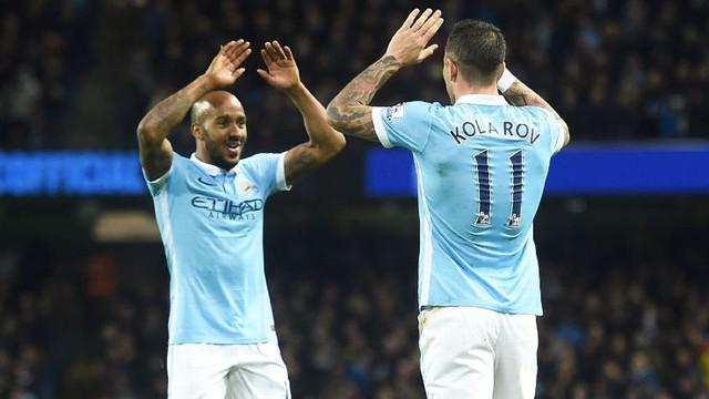 Delph (trái) và Kolarov đã có trận đấu hay trước Southampton.