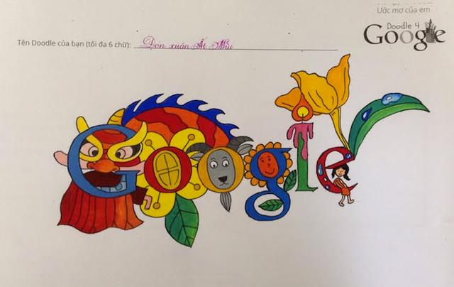 Tác phẩm đạt giải nhất cuộc thi Doodle 4 Google do họa sĩ nhí Lê Hiếu sáng tác