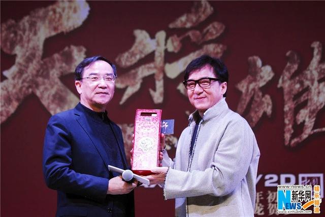 Thành Long tại buổi họp báo quảng bá bộ phim Dragon Blade