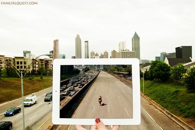 Một cảnh trong phim The Walking Dead được quay tại thành phố Atlanta, thuộc tiểu bang Georgia (Mỹ).
