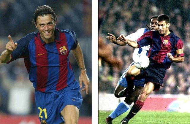 Enrique (trái, năm 2003) và Guardiola (2001) từng sát cánh trong màu áo Barca giai đoạn 1996-2001 và cống hiến cho Barca suốt 20 năm qua trên nhiều cương vị.