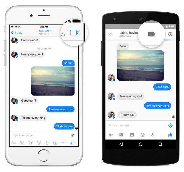 Nhấn vào biểu tượng hình camera để thực hiện cuộc gọi video trên Facebook Messenger