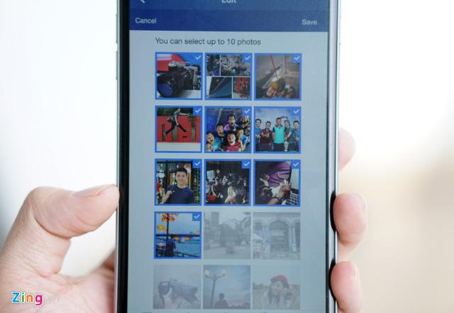 Người dùng chỉ được chọn tối đa 10 ảnh và không được xáo trộn thứ tự. (Ảnh: Zing)