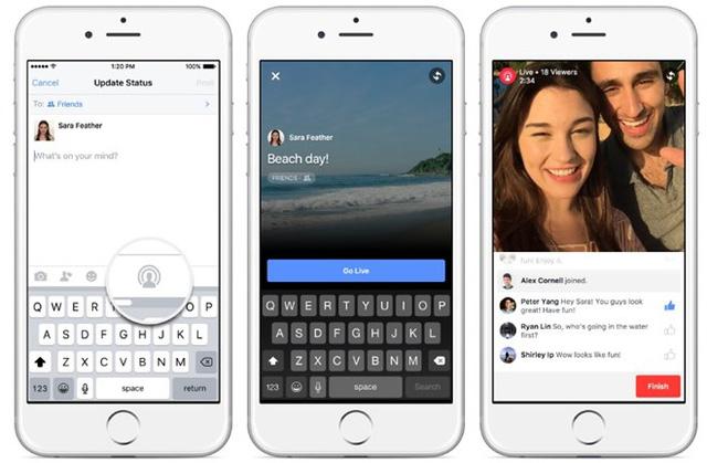 Facebook thử nghiệm tính năng chia sẻ video trực tuyến. (Ảnh: VietnamPlus)