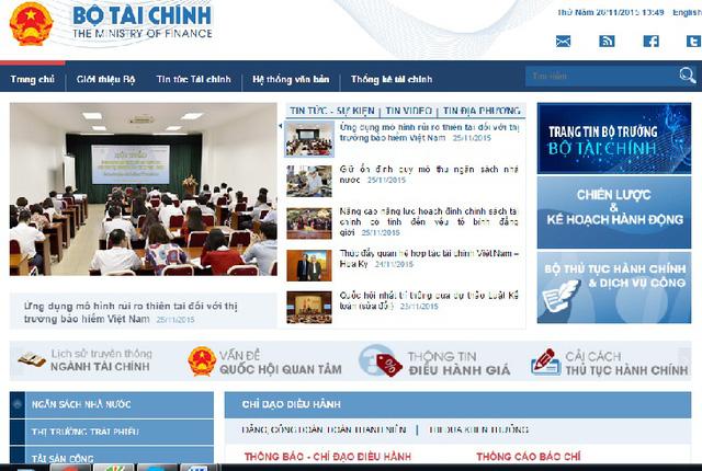 Giao diện mới Cổng TTĐT Bộ Tài chính