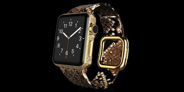 Gold Apple Watch Brilliance Parte Exotic dây da trăn có giá 2.397 Bảng Anh