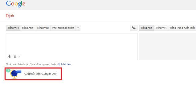 Truy cập công cụ Google Dịch, chọn Giúp cải thiện Google Dịch