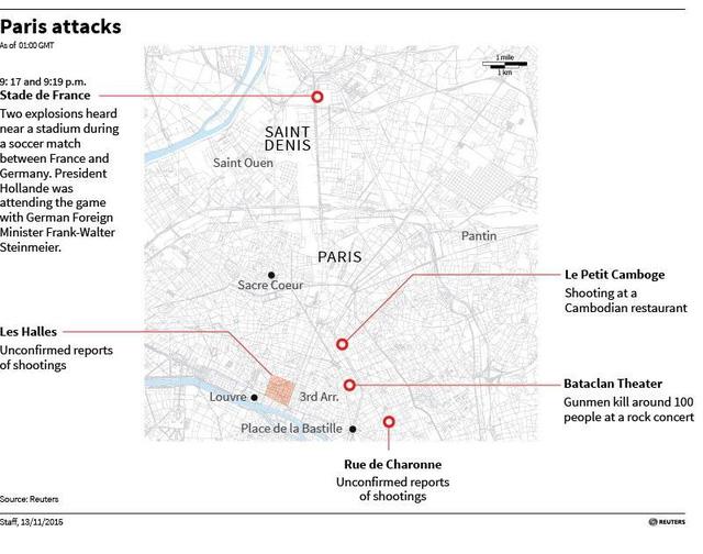 Bản đồ khu vực bị tấn công