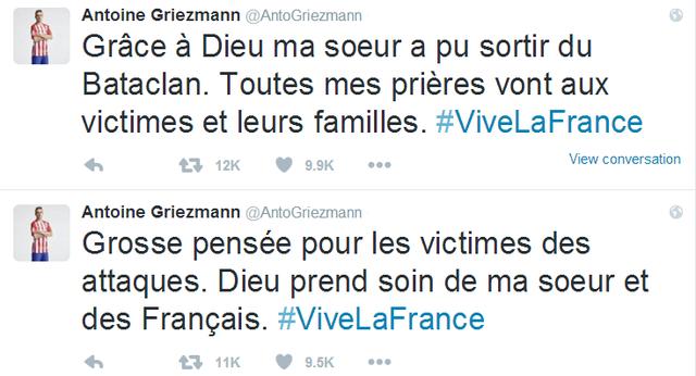 Tweet 1: Hết sức thương tiếc cho các nạn nhân của vụ tấn công. Xin Chúa hãy bảo vệ em gái con và người dân Pháp! Nước Pháp muôn năm!  Tweet 2: Ơn Chúa! Em gái tôi đã ra khỏi Bataclan. Xin nguyện cầu cho các nạn nhân và gia đình họ. Nước Pháp muôn năm!
