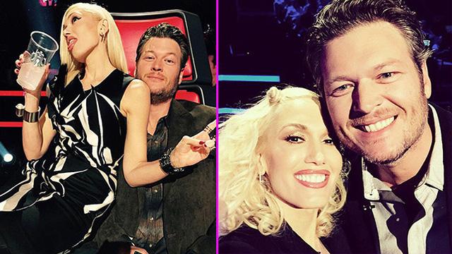 Gwen Stefani và Blake Shelton thân thiết trên trường quay The Voice Mỹ.