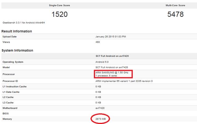 Đánh giá Exynos 7420 trên Geekbench (Nguồn: PhoneArena)