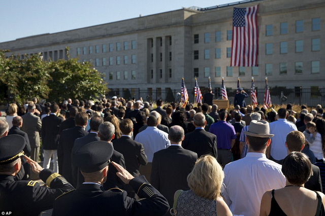 Hundreds gathered at the Pentagon Friday morning for a ceremony to honor the more than 100 who died at the military headquarters on September 11, 2001