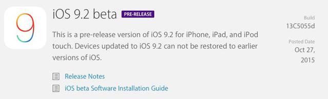 Apple đã phát hành bản thử nghiệm iOS 9.2 dành cho các nhà phát triển