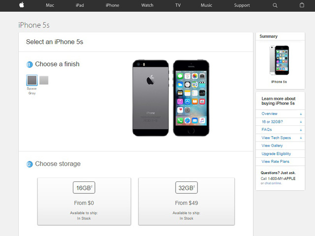 iPhone 5S chỉ còn 2 tùy chọn màu sắc
