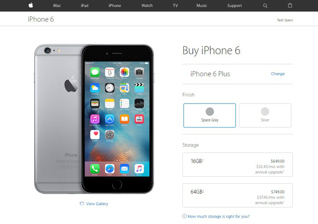 iPhone 6 và iPhone 6 Plus đều chỉ có 2 tùy chọn màu sắc
