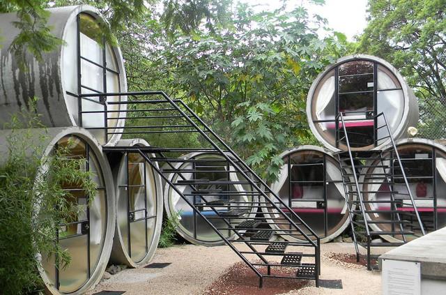 Khách sạn lạ mắt với những phòng nghỉ là đường ống tại Mexico.