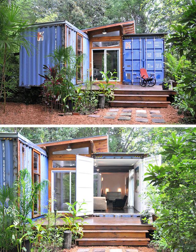 Căn nhà độc đáo làm từ container với phong cách mùa hè sinh động tại thành phố Savannah, bang Georgia (Mỹ).