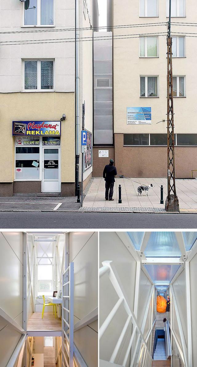 Nhà ống siêu nhỏ có mặt tiền bằng một con ngõ hẹp ở thành phố Warsaw (Ba Lan).