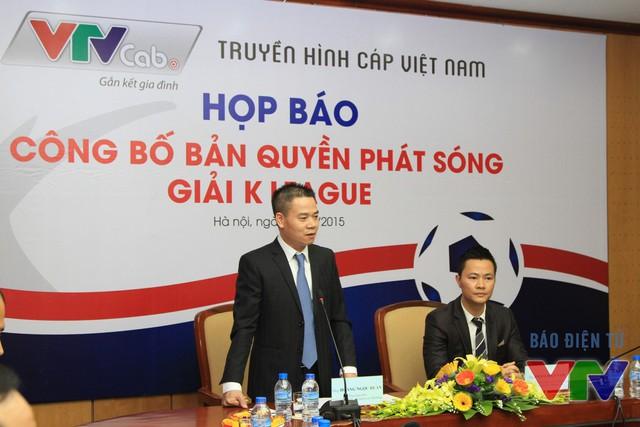 Ông Hoàng Ngọc Huấn, Tổng Giám đốc Tổng Công ty Truyền hình Cáp Việt Nam phát biểu tại buổi họp báo