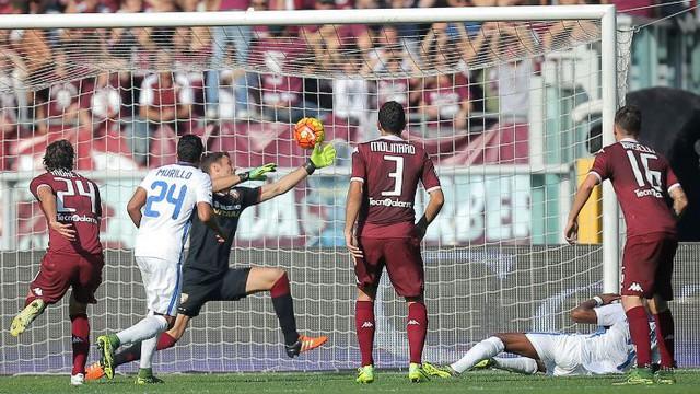 Kondogbia có pha ngả người vô-lê đẹp mắt ghi bàn duy nhất, giúp Inter hạ chủ nhà Torino.