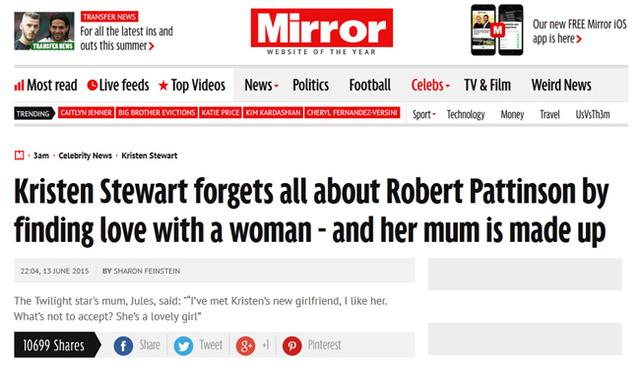 Bài viết đưa tin bà Jules xác nhận tình yêu đồng giới của con gái trên Mirror.