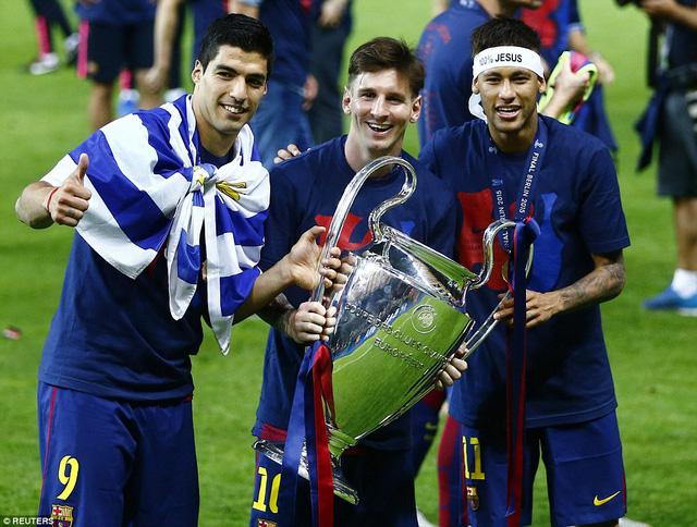Tam tấu Suarez, Messi (giữa) và Neymar góp công lớn giúp Barca vô địch Champions League năm nay.