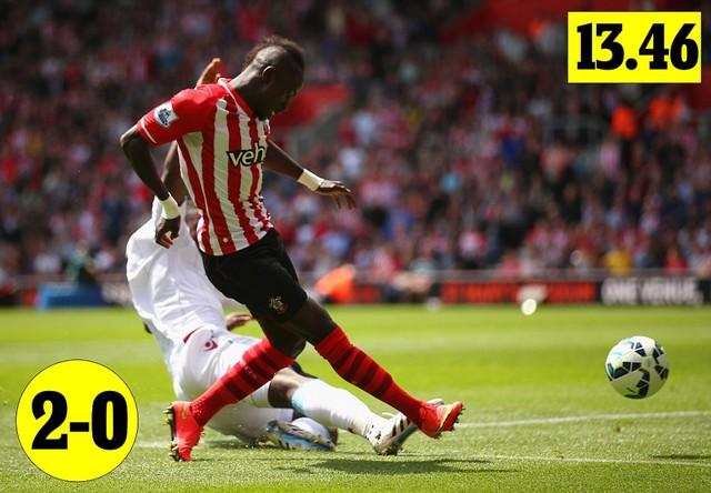 Cú sút chân phải của Mane nâng tỉ số lên 2-0.