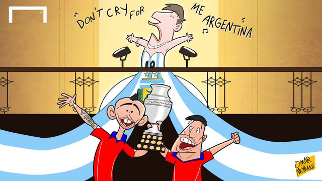 Messi hát bài: Đừng thương hại tôi Argentina, với màn phụ họa bên dưới của các cầu thủ Chile đang nâng cao chiếc cúp vô địch Copa America.