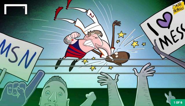 Lần đầu tiên trong sự nghiệp, ởtrận đấu giao hữu với AS Roma, Messi có ý định hành hung cầu thủ đối phương. Tuy nhiên, M10 không bị dính thẻ saumàn bóp cổMapou Yanga-Mbiwa.