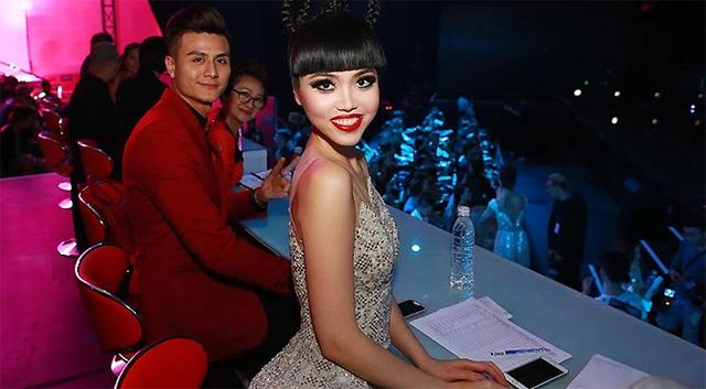 Jessica Minh Anh và người mẫu Vĩnh Thụy trên ghế giám khảo. (Ảnh: J Model Management)