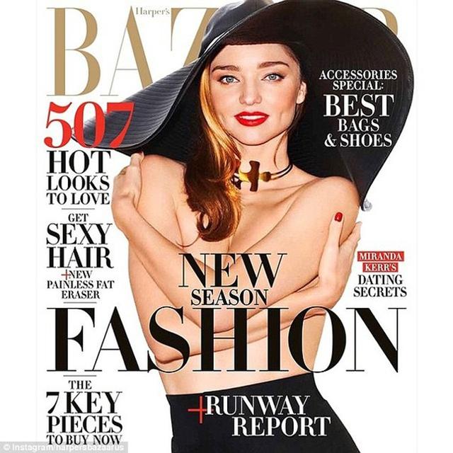Miranda Kerr trên bìa tạp chí Harpers Bazaar tháng 2.