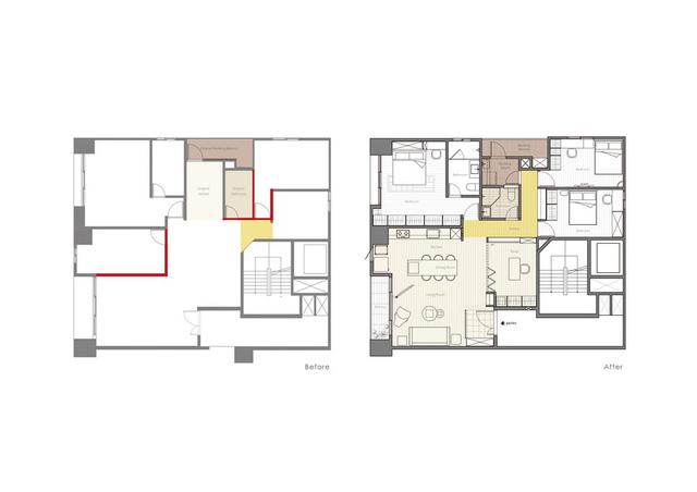Thiết kế của căn hộ trước và sau khi cải tạo