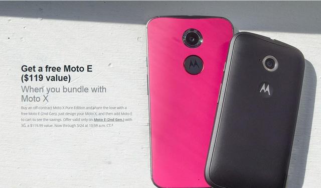Thông tin khuyến mại đăng tải trên trang web của Motorola