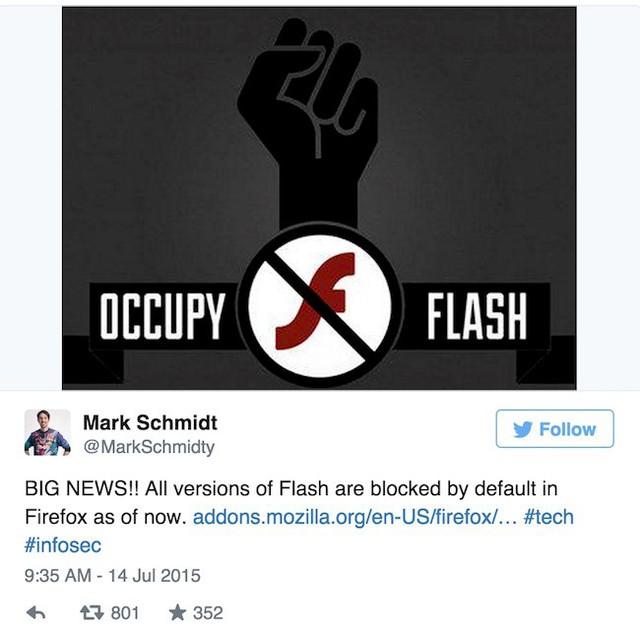 Trưởng nhóm hỗ trợ Mozilla Firefox thông báo việc trình duyệt chặn Flash ở chế độ mặc định trên Twitter