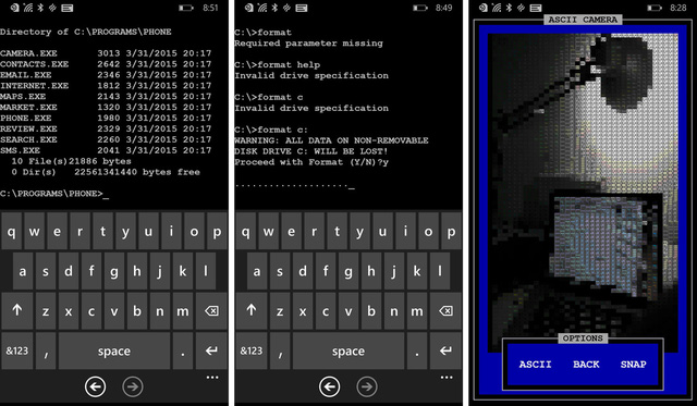 Cách truy cập vào ứng dụng camera trên hệ điều hành MS-DOS dành cho smartphone