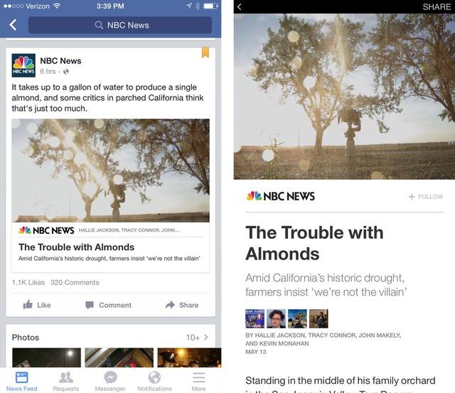 Màn hình hiển thị tin tức của các tờ báo trên News Feed thông thường hiện nay (trái) và sau khi áp dụng tính năng Instant Articles.